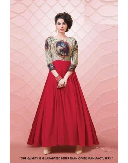 Party Wear Readymade Cream & Red Gown - 71281