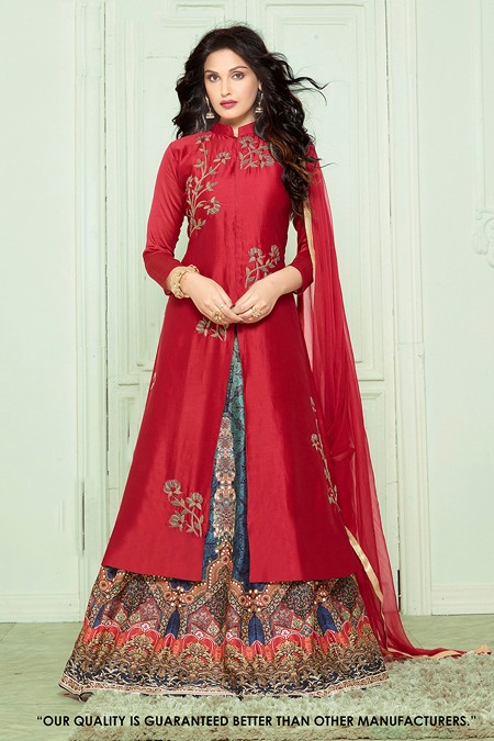 Ethnic Wear Red Banglori Lehenga Suit  - 71284