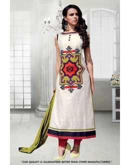 Party Wear White Taffeta Salwar Suit - 71288