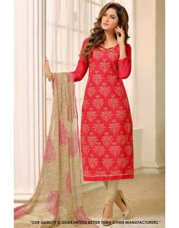 Office Wear Red Chanderi Salwar Suit - 71291