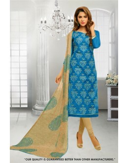 Festival Wear Blue Chanderi Salwar Suit - 71292