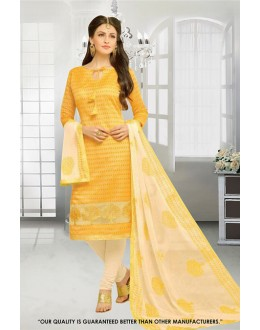 Office Wear Yellow Chanderi Salwar Suit - 71293