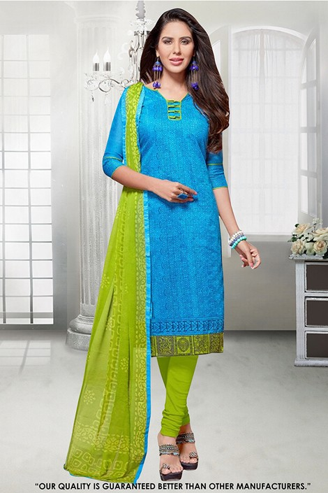 Ethnic Wear Blue Chanderi Salwar Suit - 71295