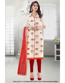 Office Wear Cream Chanderi Salwar Suit - 71296