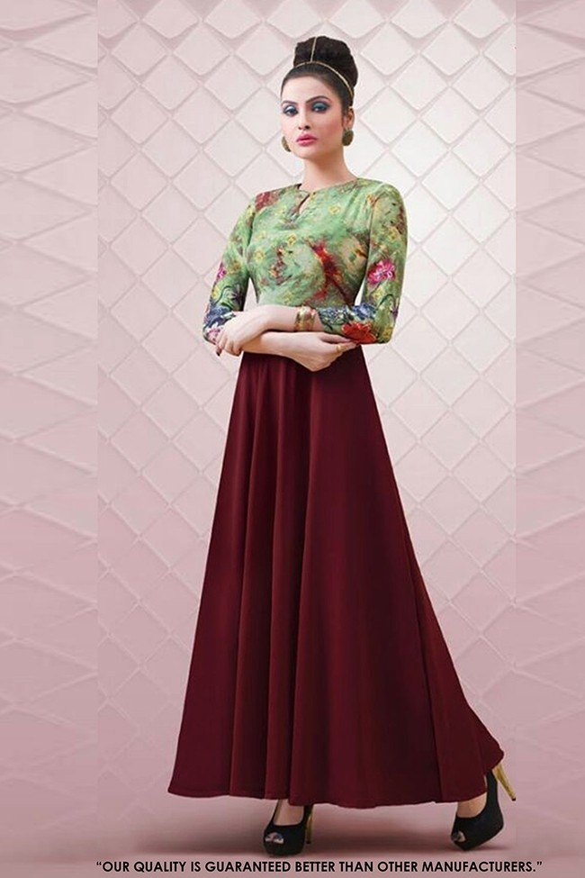 Party Wear Readymade Multi-Colour Gown - 71297