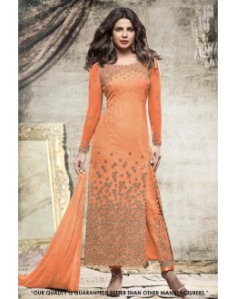 Priyanka Chopra In Orange Georgette Slit Salwar Suit  - 71303C