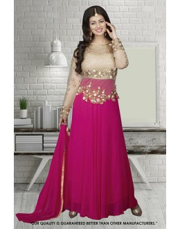 Ayesha Takia In Cream & Pink Georgette Anarkali Suit  - 71304A