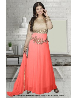Ayesha Takia In Cream & Peach Georgette Anarkali Suit  - 71304C