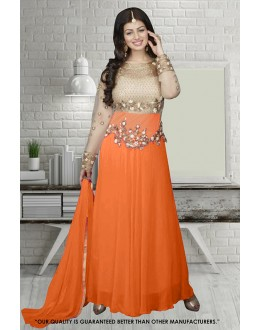 Ayesha Takia In Cream & Orange Georgette Anarkali Suit  - 71304D