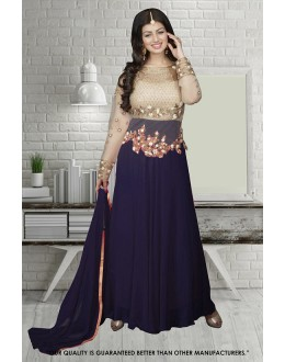 Ayesha Takia In Cream & Blue Georgette Anarkali Suit  - 71304E