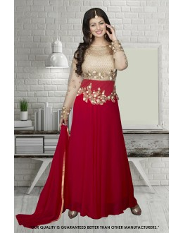 Ayesha Takia In Cream & Maroon Georgette Anarkali Suit  - 71304F