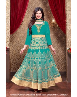 Ayesha Takia In Green Silk Anarkali Suit  - 71305A