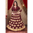 Ayesha Takia In Maroon Faux Georgette Anarkali Suit  - 71306C