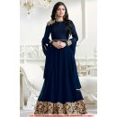 Wedding Wear Navy Blue Georgette Long Anarkali Gown - 71312B