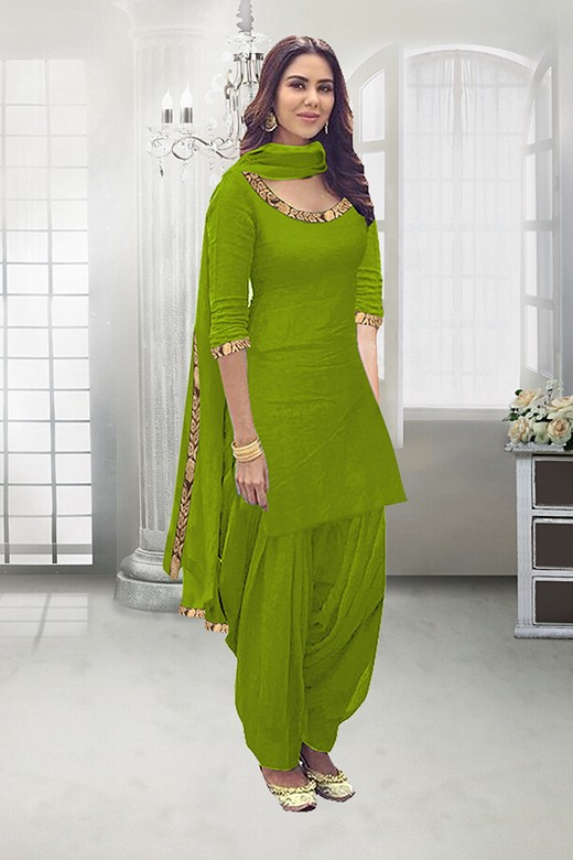 Party Wear Lime Green Poly Cotton Patiyala Suit - 71324G