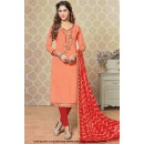 Wedding Wear Peach Georgette Salwar Suit - 71357