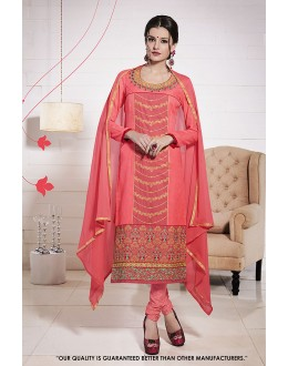 Traditional Wear Peach Glace Cotton Salwar Suit - 71360