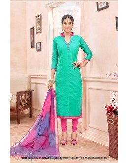 Ethnic Wear Green Chanderi Cotton Salwar Suit - 71377
