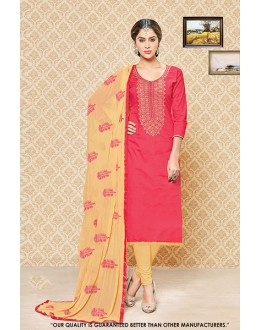 Traditional Wear Pink Cambric Cotton Salwar Suit - 71398