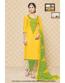 Casual Wear Yellow Cambric Cotton Salwar Suit - 71399