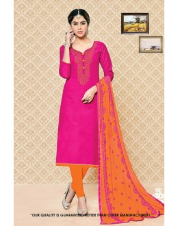 Festival Wear Pink Cambric Cotton Salwar Suit - 71402