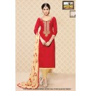 Wedding Wear Red Cambric Cotton Salwar Suit - 71403