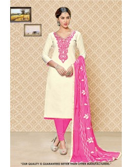 Casual Wear Cream Cambric Cotton Salwar Suit - 71407