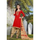 Ethnic Wear Red Cotton Salwar Suit - 71412