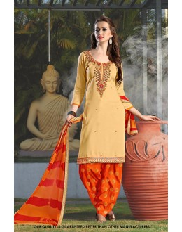 Festival  Wear Beige Cotton Salwar Suit - 71413