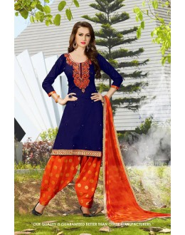 Wedding Wear Navy Blue Cotton Salwar Suit - 71415