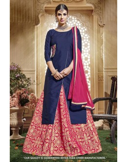 Casual Wear Blue Taffeta Silk Lehenga Suit - 71416