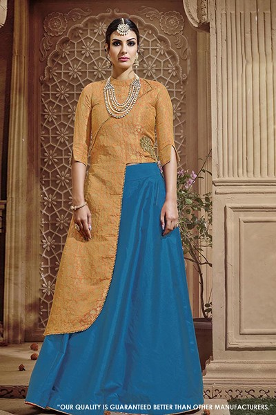 Party Wear Orange Taffeta Silk Lehenga Suit - 71417