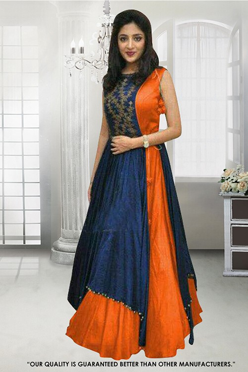 Festival Wear Orange Banglori Gown - 71307B