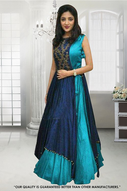 Party  Wear Turquoise Banglori Gown - 71307D