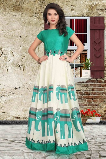 Party Wear Readymade Olive Green Anarkali Gown - 71423