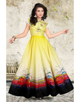 Traditional Wear Readymade Yellow Anarkali Gown - 71424