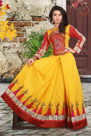 Party Wear Readymade Yellow Anarkali Gown - 71427