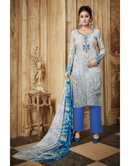 Traditional Wear Blue Rayon-Modal Salwar Suit - 71429