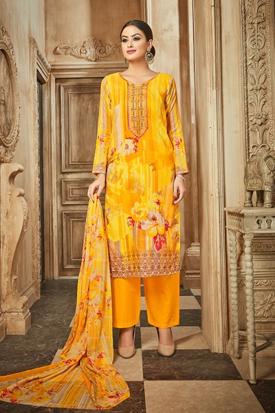 Festival Wear Yellow Rayon-Modal Salwar Suit - 71438
