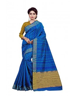 Traditional Wear Cotton Blue Saree - 80099