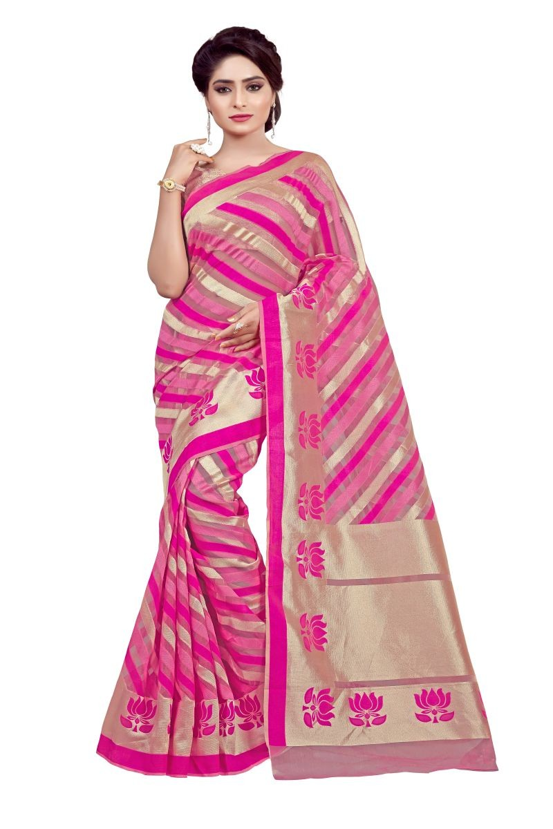 Traditional Wear Cotton Pink Saree - 80094
