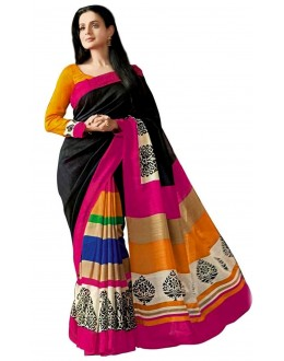 Party Wear Bhagalpuri Black Saree - 80166
