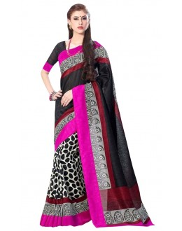 Party Wear Bhagalpuri Black Saree - 80181