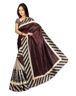 Party Wear Bhagalpuri Brown Saree - 80184