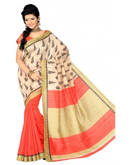 Party Wear Bhagalpuri Cream & Peach Saree - 80156