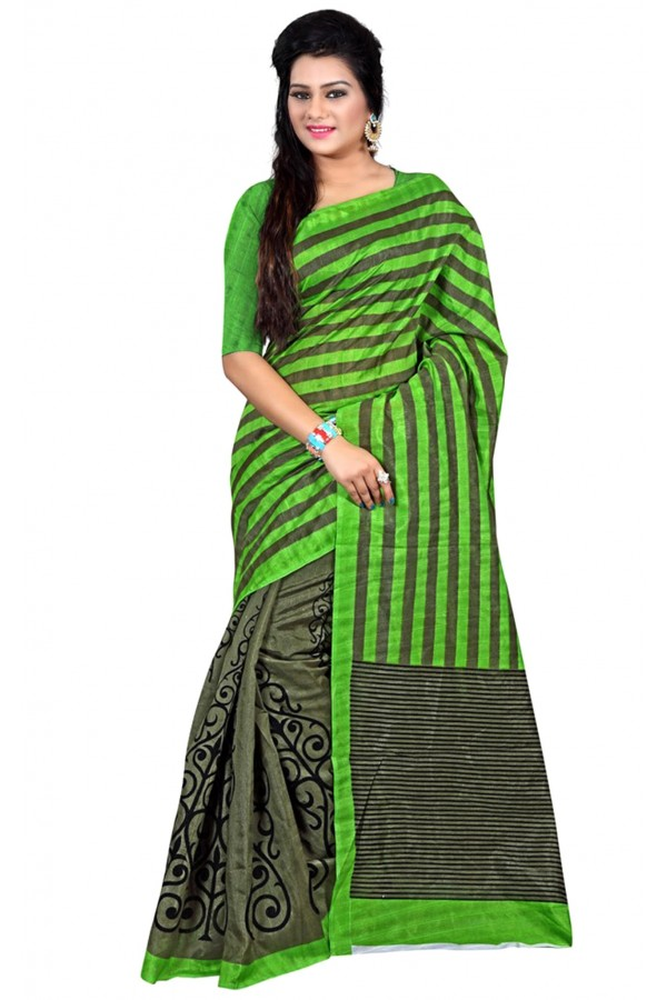 Party Wear Bhagalpuri Green Saree - 80165