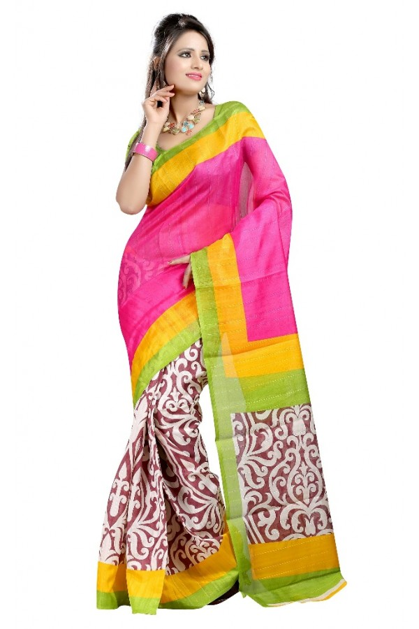 Party Wear Bhagalpuri Pink Saree - 80187