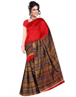Party Wear Bhagalpuri Red Saree - 80168