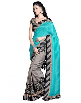 Party Wear Bhagalpuri Sky Blue Saree - 80174