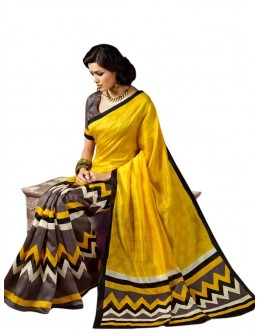 Party Wear Bhagalpuri Yellow Saree - 80185